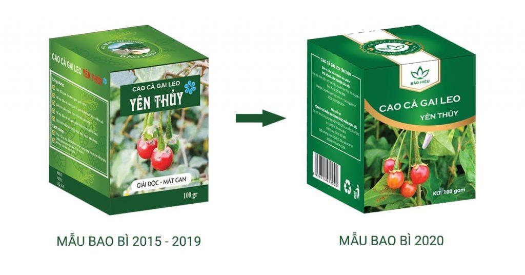 Thay đổi bao bì sản phẩm Cao cà gai leo Yên Thủy