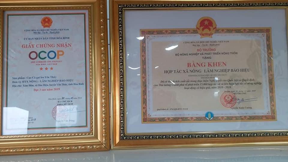 Cao cà gai leo Yên Thủy đạt chứng nhận 3 sao OCOP và bằng khen của Bộ trưởng Bộ Nông nghiệp và Phát triển Nông thôn Việt Nam